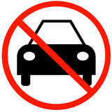 No cars allowed. Car with not allowed symbol - no cars allowed Royalty Free Stock Image