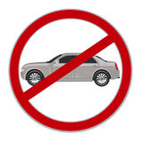 No cars allowed sign, no parking, vector illustration Royalty Free Stock Photos