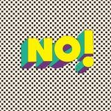 NÃO! - Cartão da tipografia com rotulação Fotografia de Stock