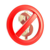 No cash sign as crossed dollar symbol Stock Image