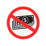 No cash sign symbol icon. No cash sign icon. Prohibition paper money symbol sticker communication message. Stop bribery corruption Stock Photos