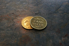 No cash value coins. As illustration of risk of invests Stock Photo