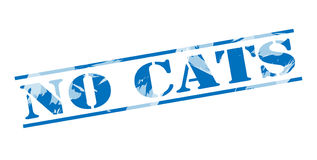 No cats blue stamp. On white background Royalty Free Stock Photo
