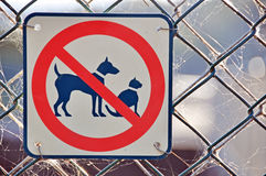No Cats Dogs Permitted Allowed Sign On Fence Royalty Free Stock Photography