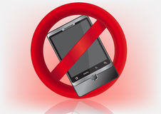 No cell phone. Sign-no cell phone, reflection Royalty Free Stock Photography