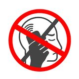 No cell phone. Forbidden Mobile phone ringing or vibrating flat icon for apps or websites stock illustration