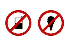 No cell phone and ice cream prohibition sign. No cell phone and ice cream red prohibition sign isolated on a white background stock illustration