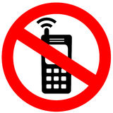 No cell phone sign. Over white Royalty Free Stock Image