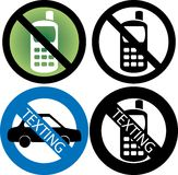 No Cell Phone Sign. Vector Illustration of four No Cell Phone or texting while driving Signs Royalty Free Illustration
