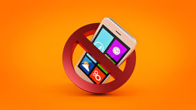 No cell phone sign. 3d rendering Stock Photography