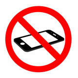No cell phone sign, flat cell phone Royalty Free Stock Images