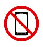 No cell phone sign. Forbidden to use the telephone. Vector royalty free illustration