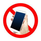 No cell phone sign, hand holding cell phone Royalty Free Stock Images