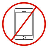 No cell phone sign on white background. Stock Image