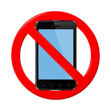 No cell phone sign. On a white background. Vector illustration Stock Photo