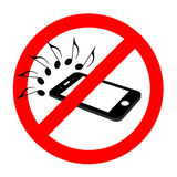 No cell phone sound sign, flat cell phone Stock Photo