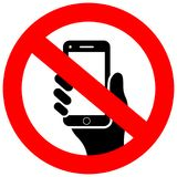 No cell phone vector sign Royalty Free Stock Images
