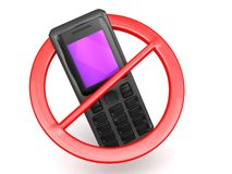 No Cell phones allowed sign. An illustration of a no cell phones allowed sign on a white background Vector Illustration
