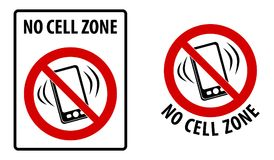No cell zone sign. Simple black lines drawing of mobile phone sy vector illustration