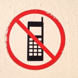 No cellphones. Allowed red black and white Stock Photo