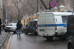 No centro de Moscou em Arbat o carro encontrou assassinos Nemtsov fotografia de stock royalty free