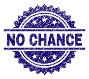 Grunge Textured NO CHANCE Stamp Seal. NO CHANCE stamp seal watermark with distress style. Blue vector rubber print of NO CHANCE tag with unclean texture royalty free illustration