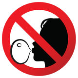 No chewing gum prohibited symbol sign on paper sticker,  illustration against blowing a bubble gum Stock Photo