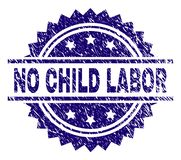Scratched Textured NO CHILD LABOR Stamp Seal. NO CHILD LABOR stamp seal watermark with distress style. Blue vector rubber print of NO CHILD LABOR tag with grunge vector illustration