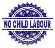 Scratched Textured NO CHILD LABOUR Stamp Seal. NO CHILD LABOUR stamp seal watermark with distress style. Blue vector rubber print of NO CHILD LABOUR title with vector illustration