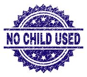 Grunge Textured NO CHILD USED Stamp Seal. NO CHILD USED stamp seal watermark with distress style. Blue vector rubber print of NO CHILD USED tag with scratched stock illustration