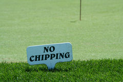 No Chipping Sign On A Practice Green Royalty Free Stock Image