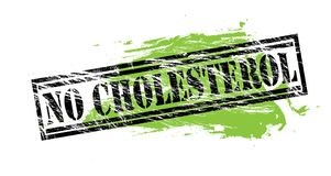 No cholesterol black and green stamp on white background. No cholesterol black and green stamp stock illustration