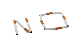 No Cigarettes. No is laid out cigarettes. Image is isolated on white Stock Photo