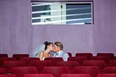 No cinema em um dia do casamento Imagem de Stock Royalty Free