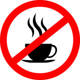 No coffee cup sign icon, red prohibition sign, stop symbol, isolated on white background Royalty Free Stock Photography