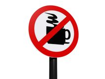 No Coffee Zone Sign on Post. Red and White No Coffee Zone sign on black post stock illustration