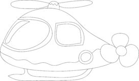 Funny helicopter for kids, black and white stock illustration
