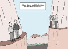 No Communication. The cartoon shows business people on two different mountains looking at each other and not talking.  The caption explains 'when sales and Royalty Free Stock Photos