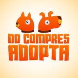 No compres Adopta - Don't Shop Adopt spanish text. Vector adoption pet concept, emblem with dog and cat illustration Stock Photography