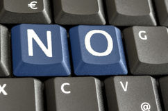 NO on computer keyboard Stock Images