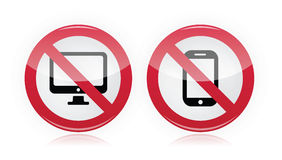 No computer, no mobile or cell phone - forbidden, red warning sign Stock Images