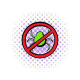 No computer virus, prohibition sign icon Stock Photography