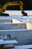 No Construction in winter. In winter with snow in the new development area Stock Photo