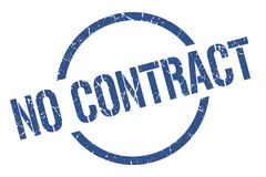 No contract stamp. No contract round grunge stamp. no contract sign. no contract stock illustration