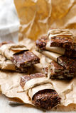 No-Cook Choco Oat Bars. Style rustic. selective focus Royalty Free Stock Photo