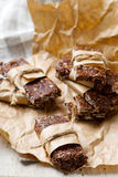 No-Cook Choco Oat Bars. Style rustic. selective focus Royalty Free Stock Photography