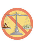 No corrupt court. Judge gavel and money on scales with the ban sign on a white background, vector illustration stock illustration