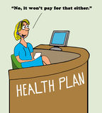 No Coverage. Health cartoon about medical insurance not covering a medical expense Stock Photos