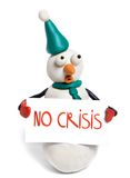 No crisis. Snowman holds in hands balnk card with phrase no crisis royalty free stock photo