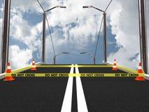 No cruce la línea de policía con el cono del camino. imagen 3D Imágenes de archivo libres de regalías